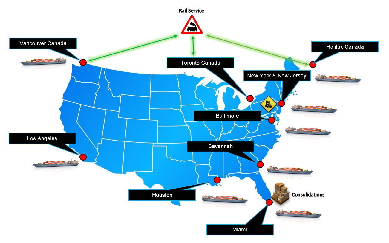 Containers shipping ports in USA