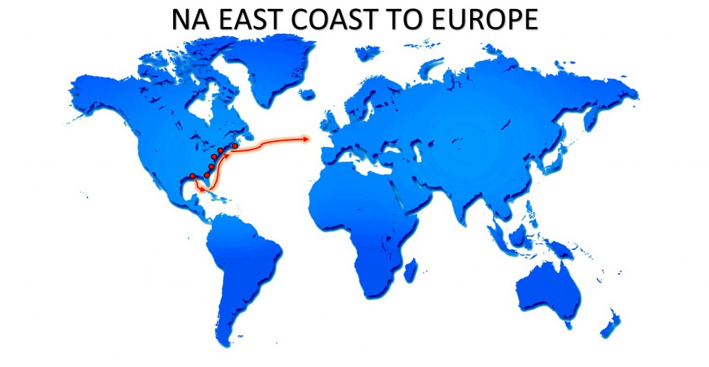 RO-RO NA EAST COAST TO EUROPE SERVICE MAP