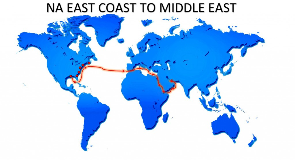 RO-RO NA EAST COAST TO MIDDLE EAST SERVICE MAP