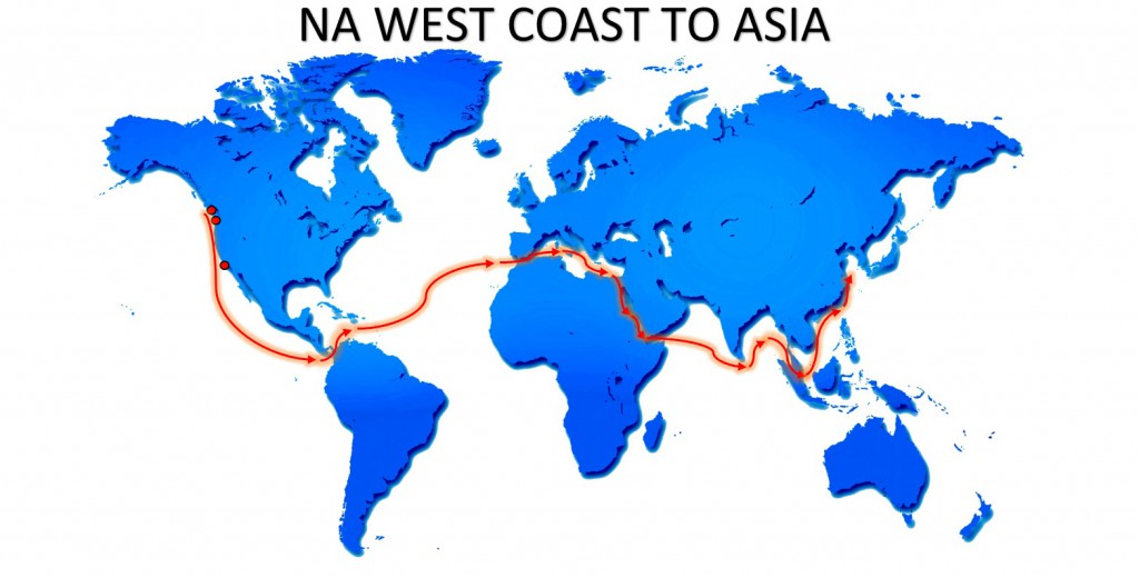 RO-RO NA WEST COAST TO ASIA SERVICE MAP