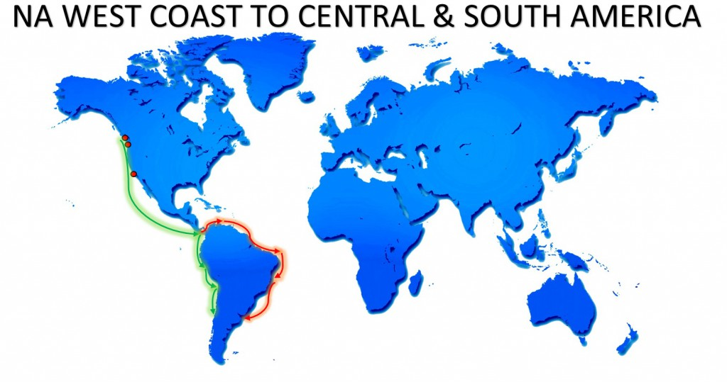 RO-RO NA WEST COAST TO CENTRAL AND SOUTH AMERICA SERVICE MAP