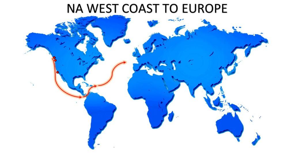 NA WEST COAST TO EUROPE SERVICE MAP