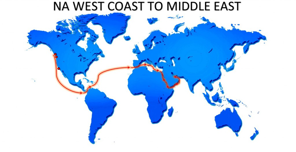 RO-RO NA WEST COAST TO MIDDLE EAST SERVICE MAP